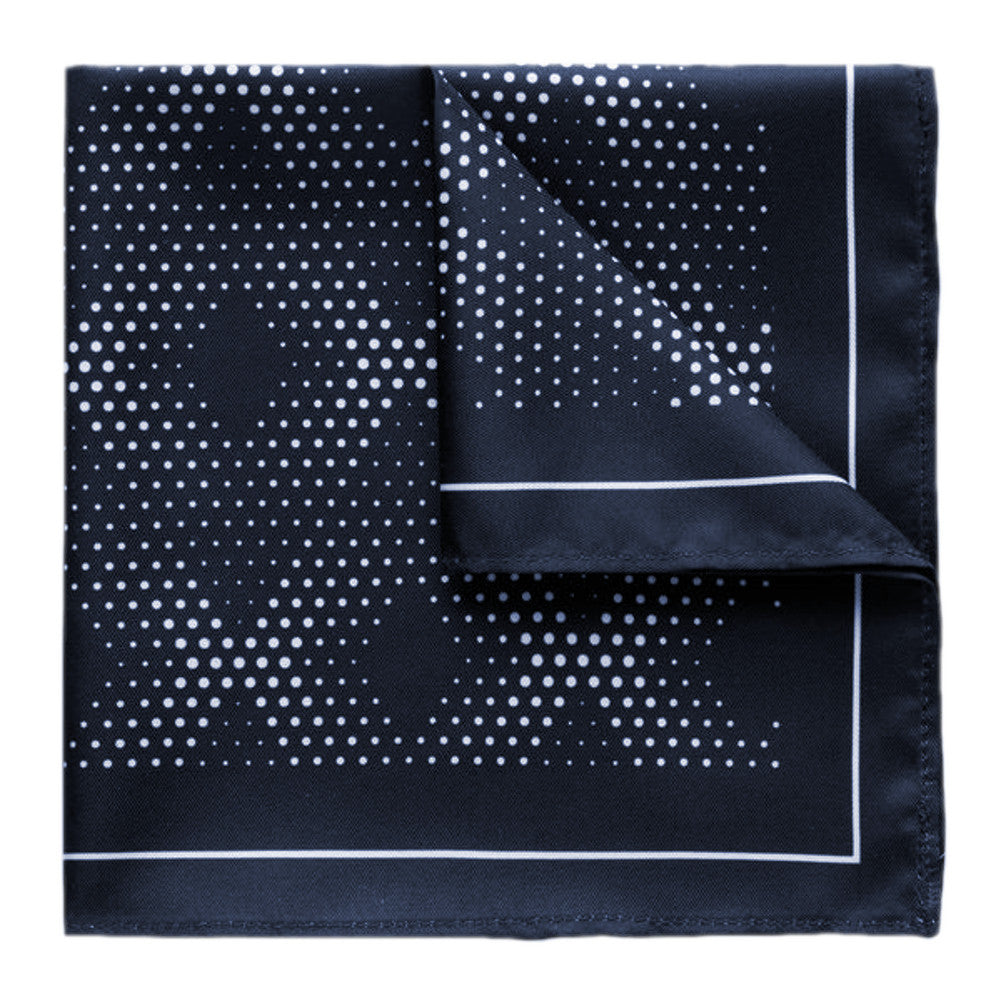 Kingsquare 100% Silk Black Navy Pocket Square Diamond Dot with Gift Box