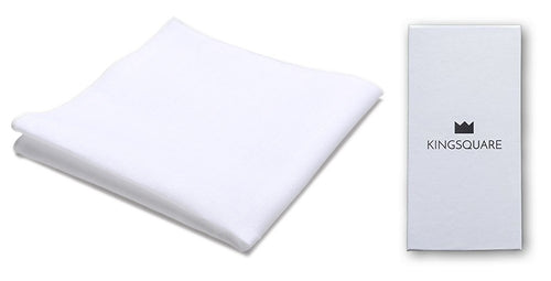 White Cotton Pocket Square Handkerchief with Gift Box