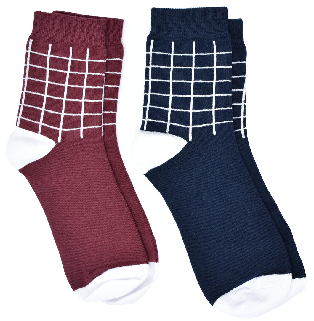 Kingsquare Men's Socks Set, Wine Red and Navy Blue