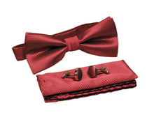 Kingsquare Bow tie, pocket square, and cufflinks 3pcs matching set