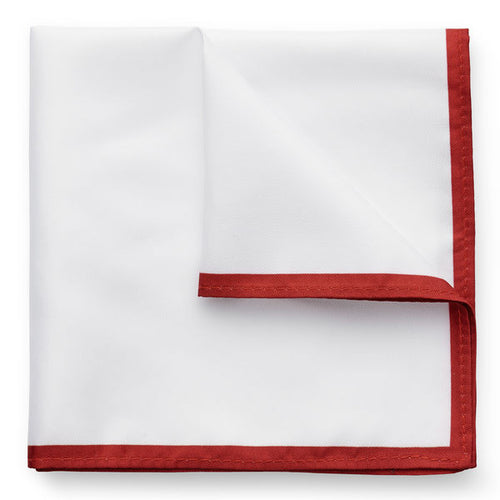 Kingsquare 100% Silk Pocket Square White with Border and Gift Box
