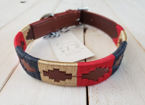 Limited Edition Polo Collection Collar: Cognac Leather with Red, Gold and Navy Blue Embroidery