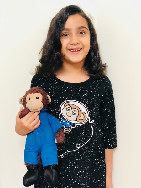 Svaha with her space monkey, the inspiration for the Svaha logo