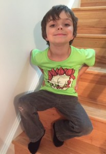My emerging Kindergartner sporting his favorite Svaha tee,