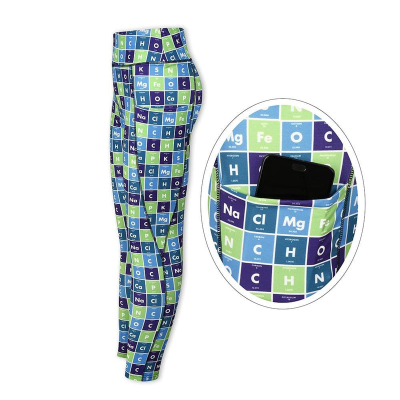 Chemical Elements Leggings with Pockets, Periodic Table Leggings, Chemistry Leggings, Science Leggings, STEM Leggings, Chemical Elements Leggings, Periodic Table Leggings, Chemical Elements Leggings, Periodic Table Leggings with Pockets, Human Body Elements Leggings with Pockets - SVAHA USA