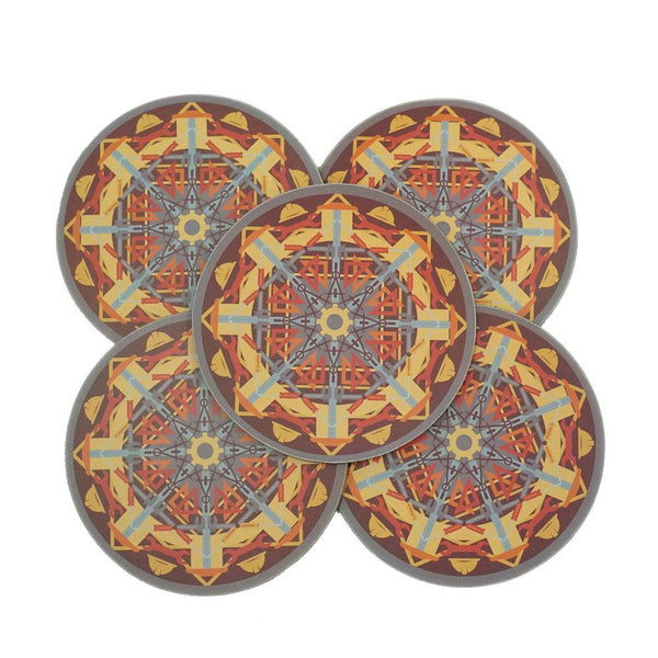 5-Pack Engineering Mandala Coasters