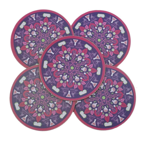 5-Pack Science Mandala Coasters