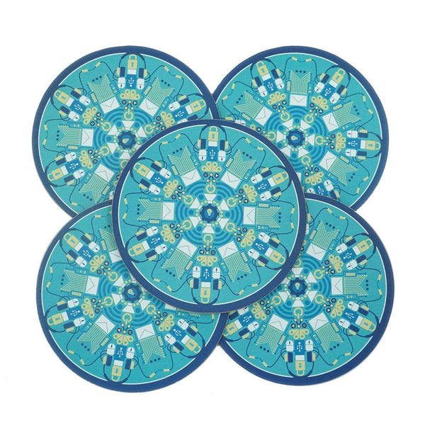 5-Pack Technology Mandala Coasters