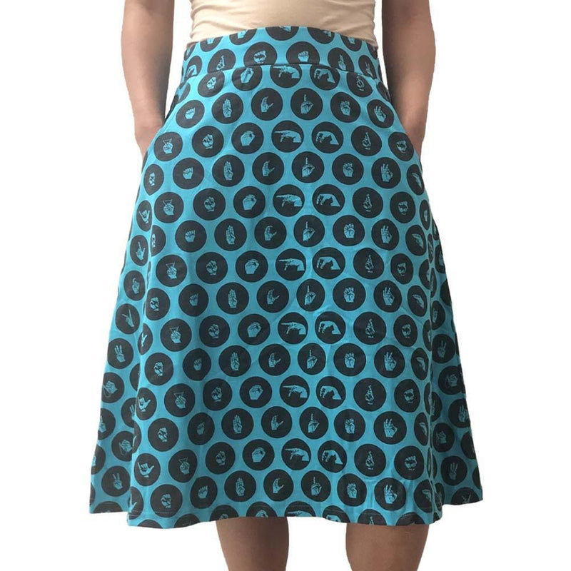 Helen Keller Skirt, Handspeak Skirt, Deaf Skirt, ASL Skirt, Linguist Skirt, Signing Skirt, Helen Keller Skirt, Language Skirt, NAD Skirt, Fingerspelling Skirt, Sign Lanuage Skirt with Pockets - SVAHA USA