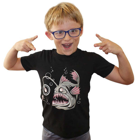 dc9e0f89 Anglerfish Glow-in-the-Dark Kids T-Shirt - Svaha USA