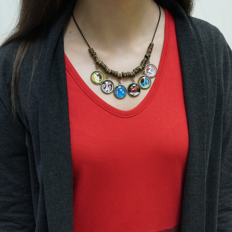 Vintage Apollo Patches Statement Necklace