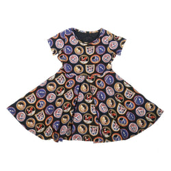 Apollo Missions Patches Kids Dress with Circle Skirt