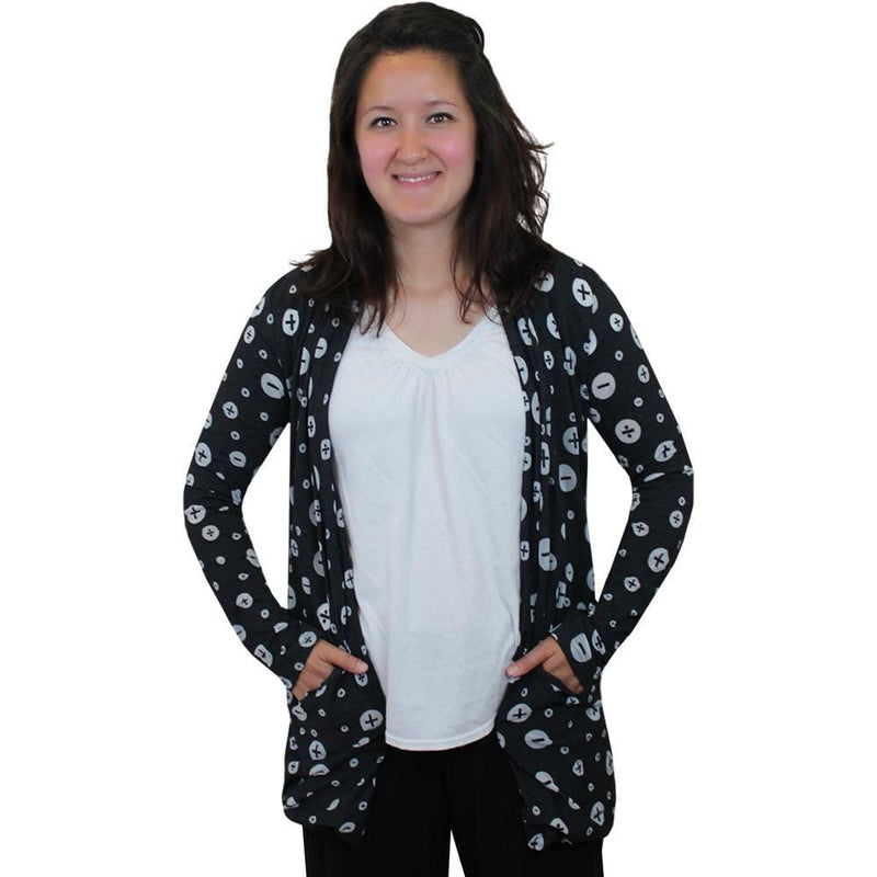Arithmetic Symbols Polka Dots Burnout Cardigan, Math Cardigan, Mathematics Cardigan, STEM Cardigan, Math Cardigan with Pockets - Svaha USA