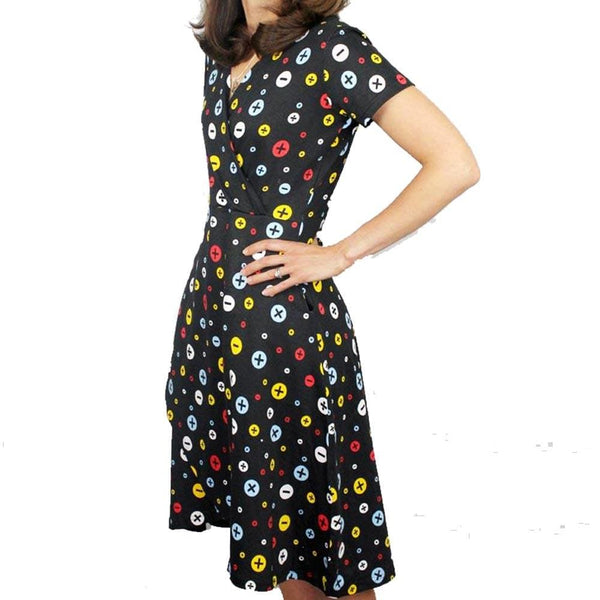Arithmetic Symbols Polka Dots Faux Wrap Dress