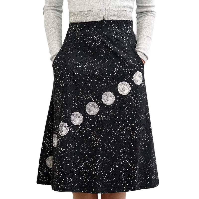 Glow-in-the-Dark Skirt, Moon Skirt, Stars Skirt, Astronomy Skirt, Solar System Skirt, Outerspace Skirt, Space Skirt, STEM Skirt, Astronomer Skirt, Galaxy Skirt, Moon Phase Skirt with Pockets - SVAHA USA