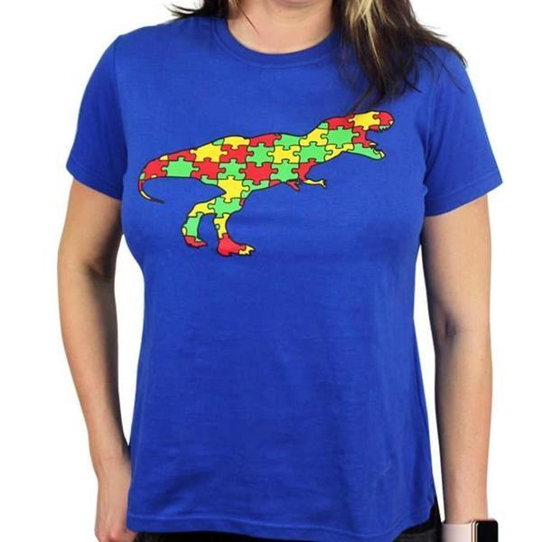 Fundrasier Shirt, Autism Awareness Shirt, Dinosaur Womens Shirt, Dinosaur Shirt, Science Shirt, ASD Shirt, Autisum Spectrum Womens Shirt, Fundrasier Shirt, Autism Puzzle Piece Shirt, Pyschology Womens Shirt, Dinosaur Puzzle Fundrasier Piece Fitted T-Shirt - SVAHA USA