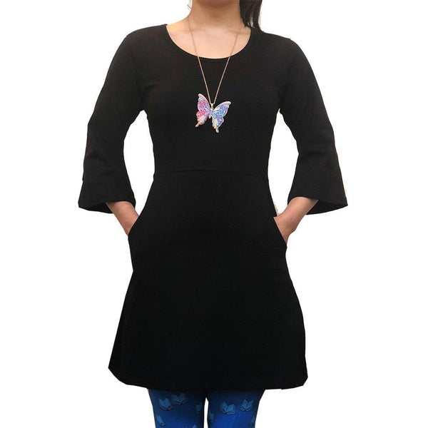 Black Bell Sleeve Women's Tunic with Pockets, Black Tunic with Pockets, - Svaha USA