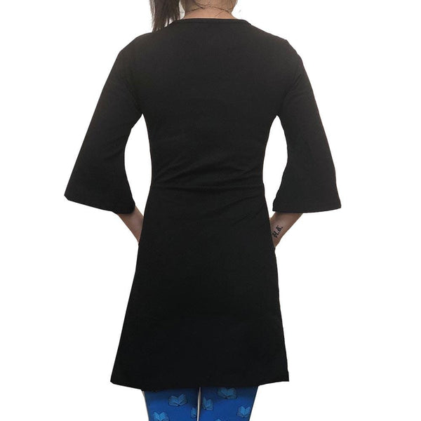 Black Bell Sleeve Women's Tunic with Pockets BACK - Svaha USA