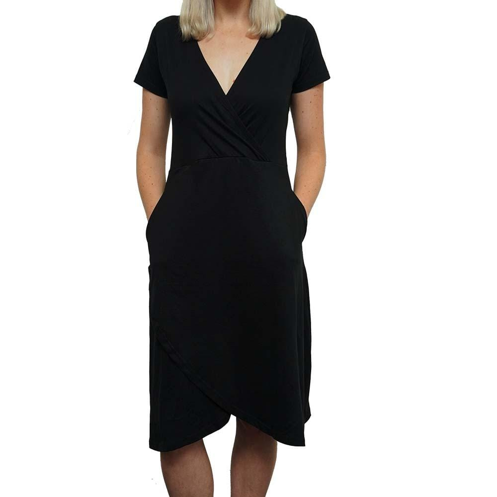 Black Faux Wrap Dress with Pockets - SVAHA USA
