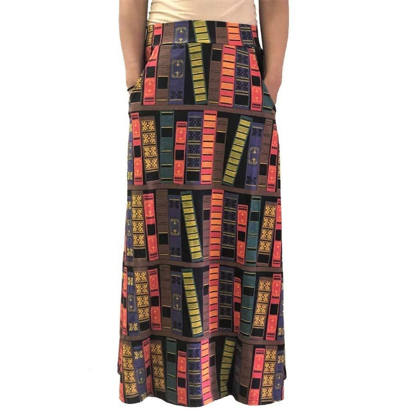 Book Spines Skirt, Books Skirt, Literature Skirt, Language Arts Skirt, STEM Skirt, Humanities Skirt, Library Skirt, Librarian Skirt,- Reader Skirt, Writer Skirt, Book Skirt with Pockets - Svaha USA