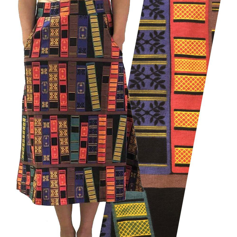 Book Spines A-Line Midi Skirt