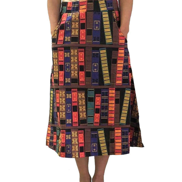 Book Spines A-Line Midi Skirt [FINAL SALE]