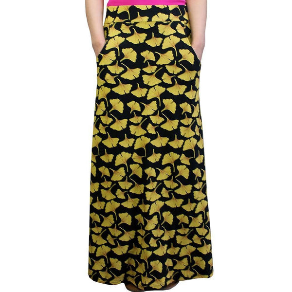 Ginkgo Leaves Skirt, STEM Skirt, Botany Skirt, Biology Skirt, Science Skirt, Natural Medicine Skirt, STEM Maxi Skirt with Pockets - Svaha USA
