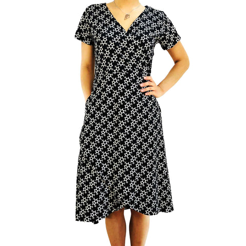 7ee25870e9a Caffeine Molecule Faux Wrap Dress - Svaha USA STEAM-themed products for  Science