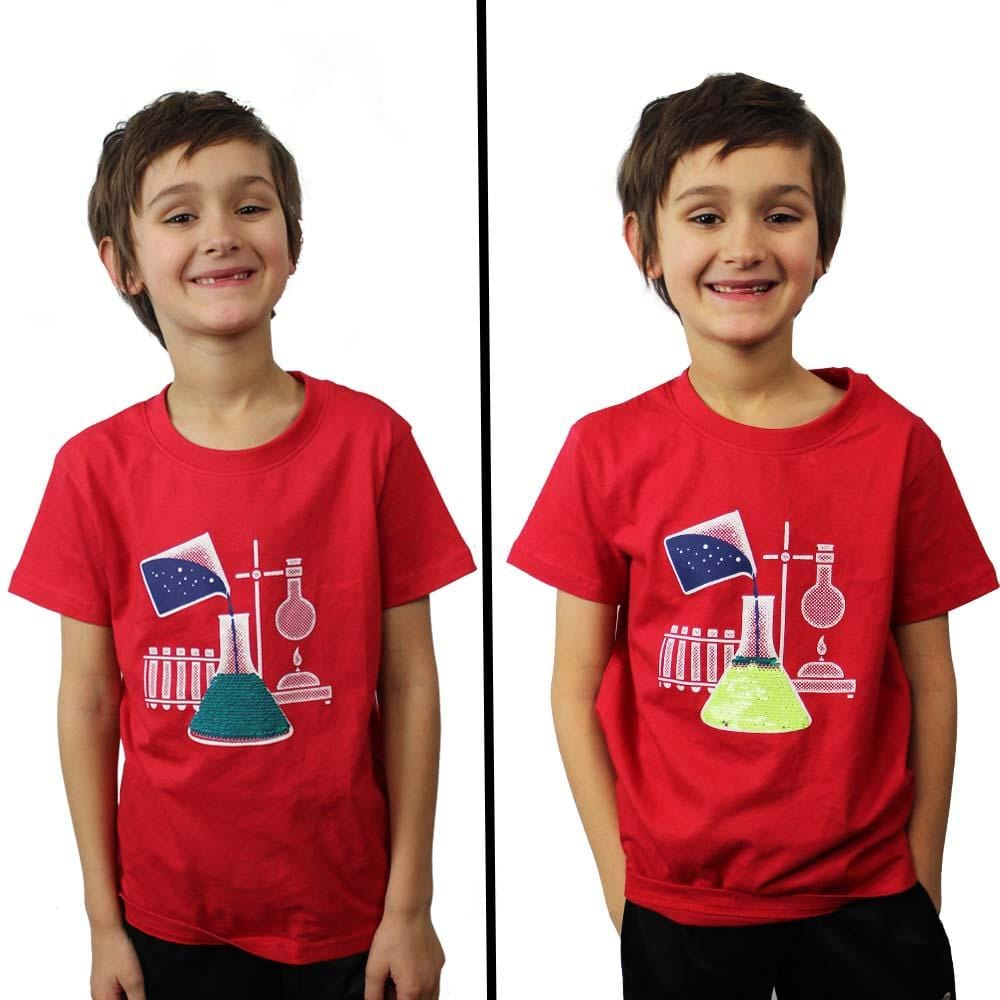 886e78821 ... Chemical Reaction Reversible Sequin Kids T-Shirt - Svaha USA ...