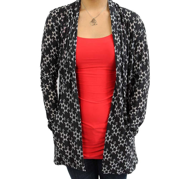 Caffeine Molecule Cardigan, Chemistry Cardigan, STEM Cardigan, Science Cardigan with Pockets - Svaha USA