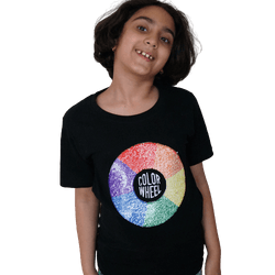Color Wheel Reversible Sequins Kids Short sleeves T-shirt