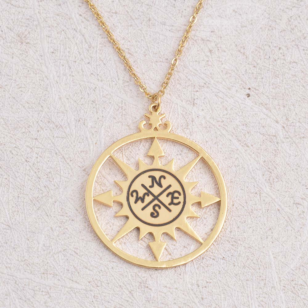 in gold or dainty compass necklace available silver products
