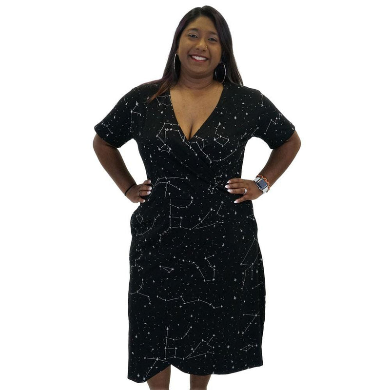 Constellations Glow-in-the-dark Faux Wrap Grace dress