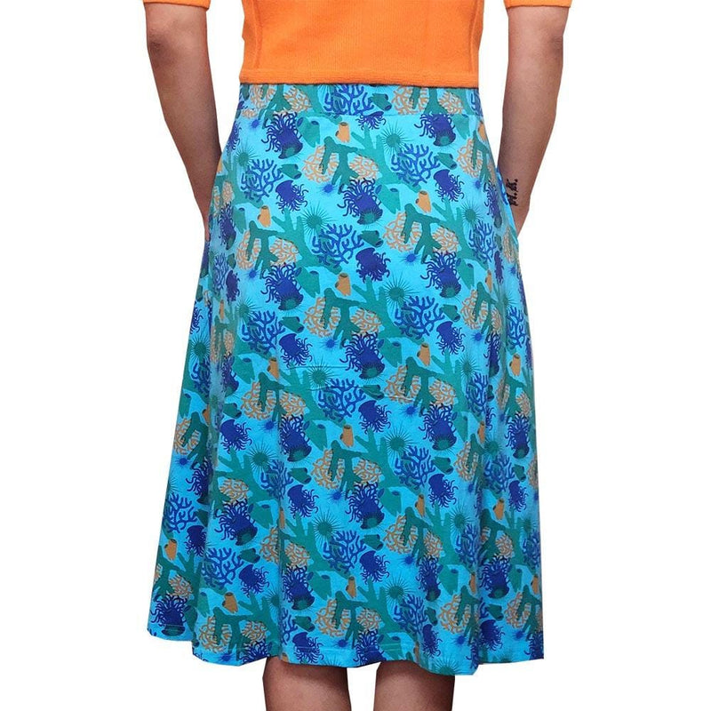 Coral Reefs Skirt, Reef Skirt, Coral Skirt, Botany Skirt, Oceanographer Skirt, Oceanography Skirt, Marine Biology Skirt, Marine Biologist Skirt, Science Skirt, Underwater Skirt, STEM Skirt, Oceana Skirt, Sea Life Skirt with Pockets - SVAHA USA - BACK