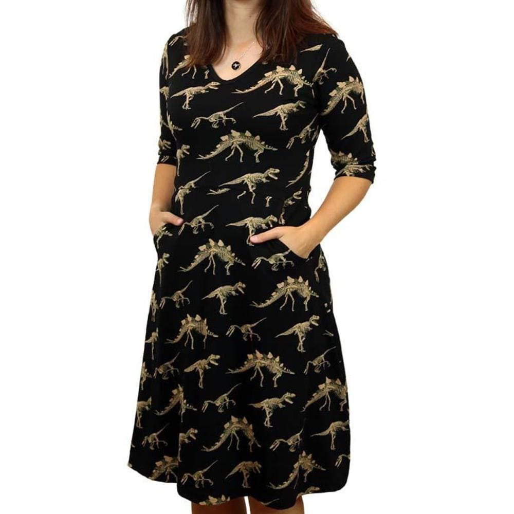 Dinosaurs Dress, Science Dress, Paleontology Dress, Mesozoic Dress, Paleontologist Dress, Evolution Dress, Prehistoric Dress, Jurassic Dress, Mesozoic Dress, STEM Dress, Science Dress, STEM Dress, Extinction Dress, Extinct Animals Dress, Tyrannosaurus Dress, Velociraptor Dress, Stegosaurus Dress, Triceratops Dress, T-Rex Dress, Fossils Dress, STEM Dress, Science Dress, Bones Dress, History Dress, Historic Dress, Dinosaur Fossils Women's Dress with Pockets - Svaha USA