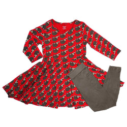Hanging Sloths Kids Twirl Dress & Leggings Set