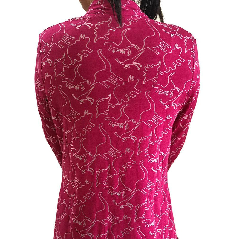 Dinosaur Cardigan, Dinosaurs Cardigan, Science Cardigan, Paleontology Cardigan, Paleontologist Cardigan, T. Rex Cardigan, Cretaceous Cardigan, Extinction Cardigan, Evolution Cardigan, Dinosauria Cardigan, Reptile Cardigan, Jurassic Print Cardigan with Pockets - BACK - SVAHA USA