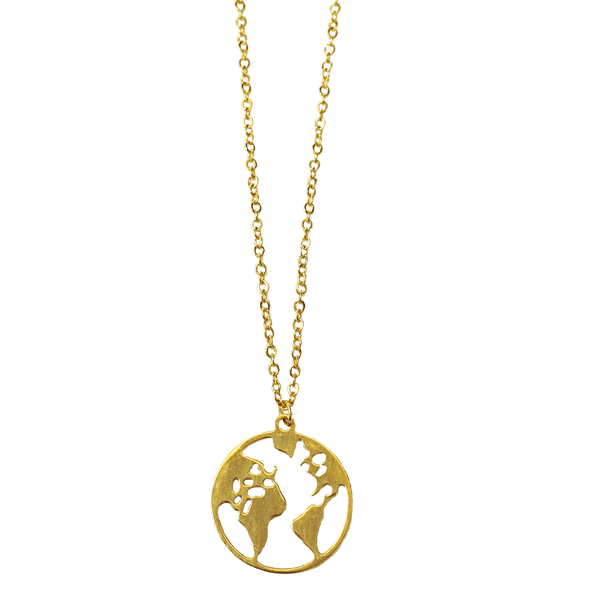 World Map Geography Necklace