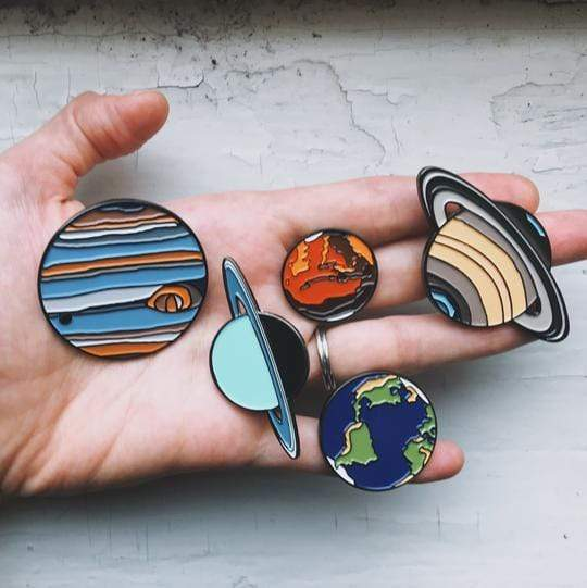 Solar System Planet Enamel Pin Set