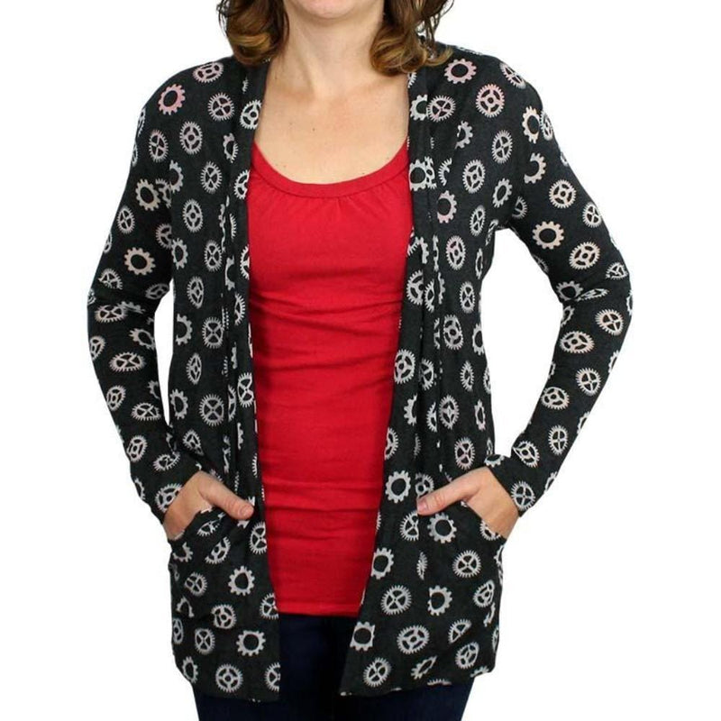 Mechanical Cardigan,  STEM Cardigan, Gears Cardigan, STEM Cardigan, Engineering Cardigan, Engineer Cardigan, STEM Cardigan with Pockets - Simple Machines - SVAHA USA