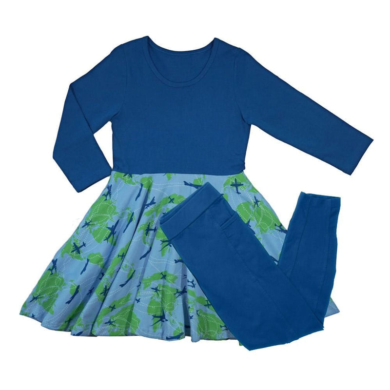 Airplane Flight Pattern Kids Twirl Dress & Leggings Set