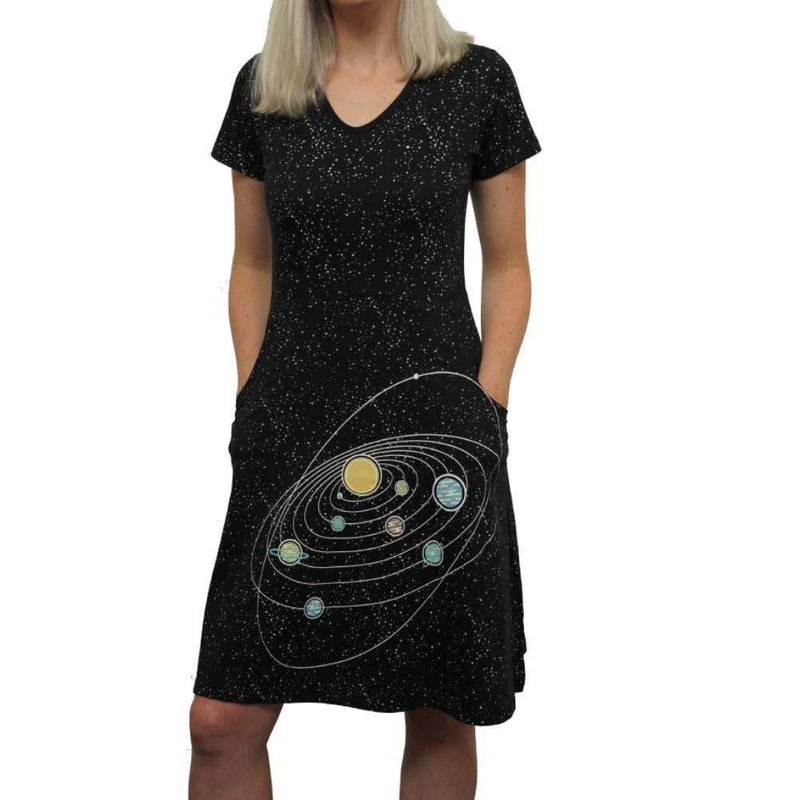 Outer Space Dress, STEM Dress, Astronomy Dress, Space Dress, Science Dress, Planets Dress, Galaxy Dress, STEM Dress, Solar System Dress, Glow-in-the-Dark Dress with Pockets - SVAHA USA