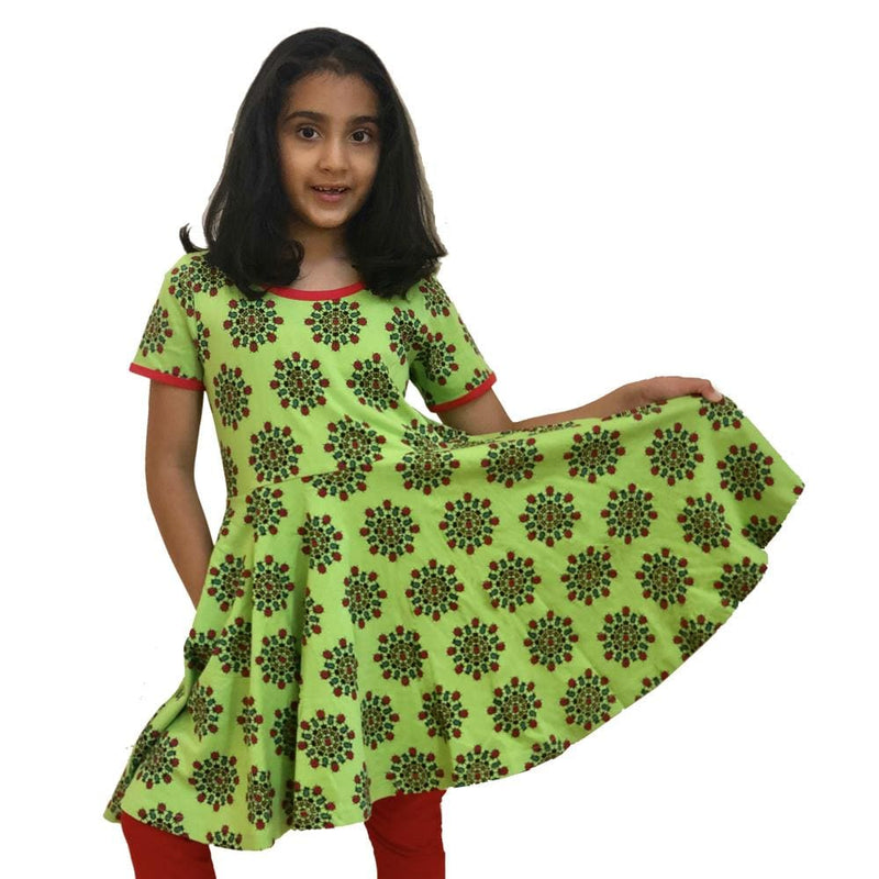 Beetles Mandala Kids Twirl Dress & Leggings Set