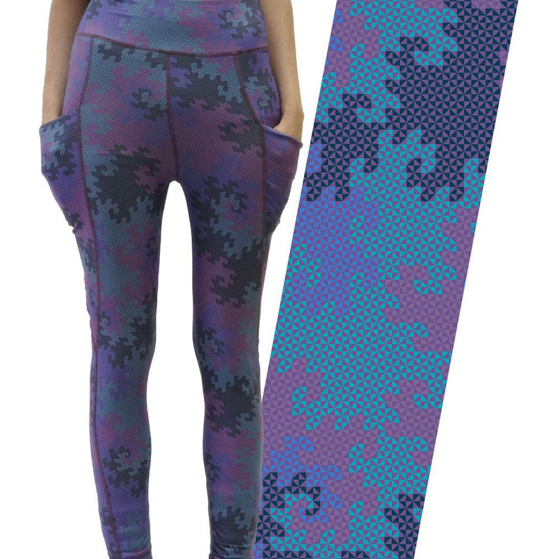 Heighway Dragon Fractal Adults Leggings with Pockets