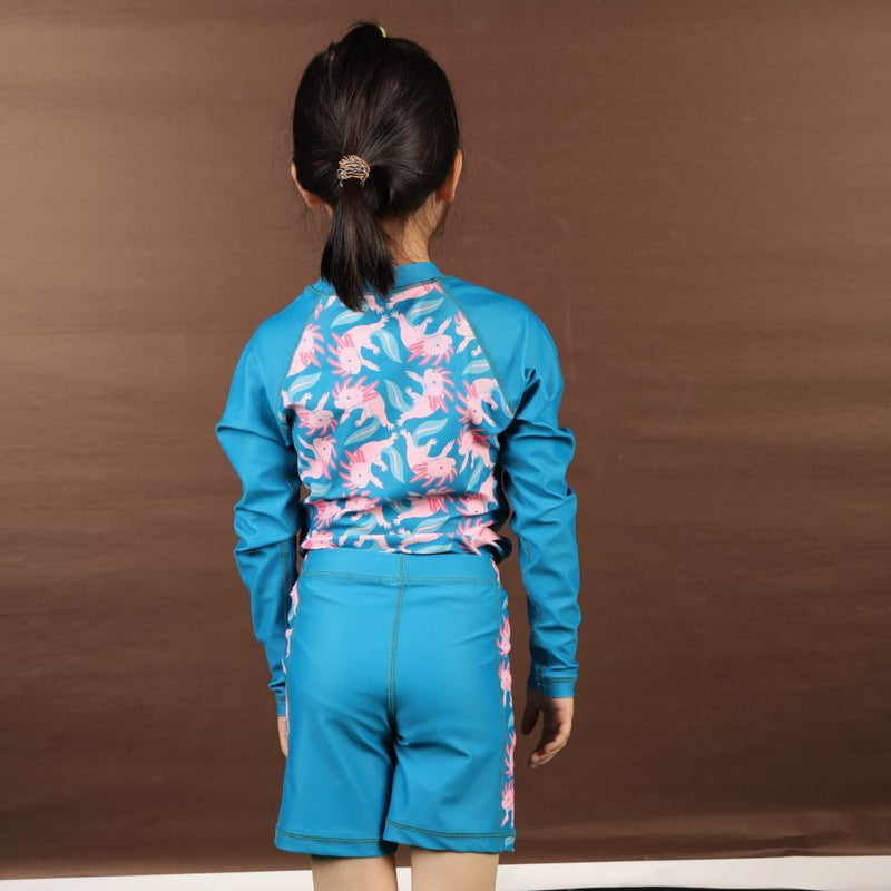 Kids Axolotl Swimsuit, Kids Fish Swimsuit, Kids Salamander Swimsuit, Kids Amphibian Swimsuit, Kids Rashguard - SVAHA USA