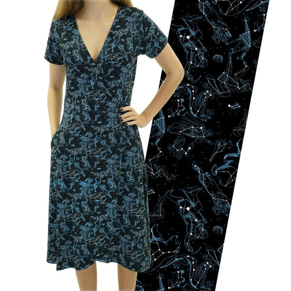 Illustrated Constellations Glow-in-the-dark Faux Wrap Grace Dress