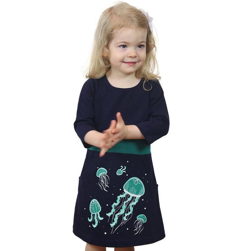 Kids Sea Creatures Dress, Kids STEM Dress, Kids Science Dress, Kids Animals Dress, Bioluminescent Jellyfish Glow-in-the-Dark Fit & Flare Kids Dress - Svaha USA