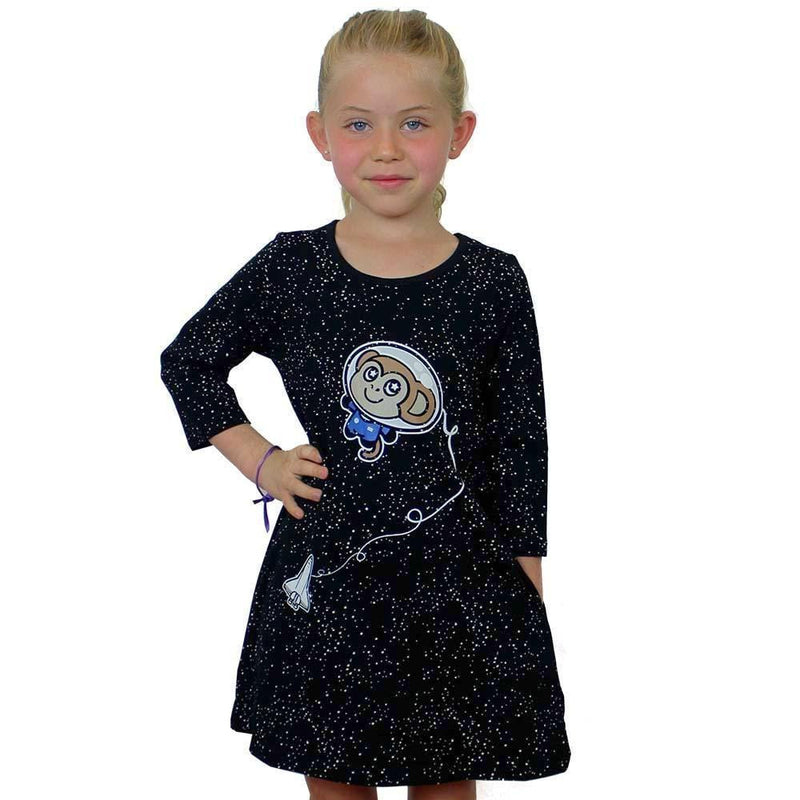 Kids Space Dress, Kids Glow-in-the-Dark Dress, Kids Astronaut Dress, Kids Astronomy Dress, Kids Science Dress, Kids STEM Dress, Kids Space Dress, Kids Astronaut Dress, Kids Monkey Dress, Kids Astronaut Monkey Dress with Pockets - SVAHA USA
