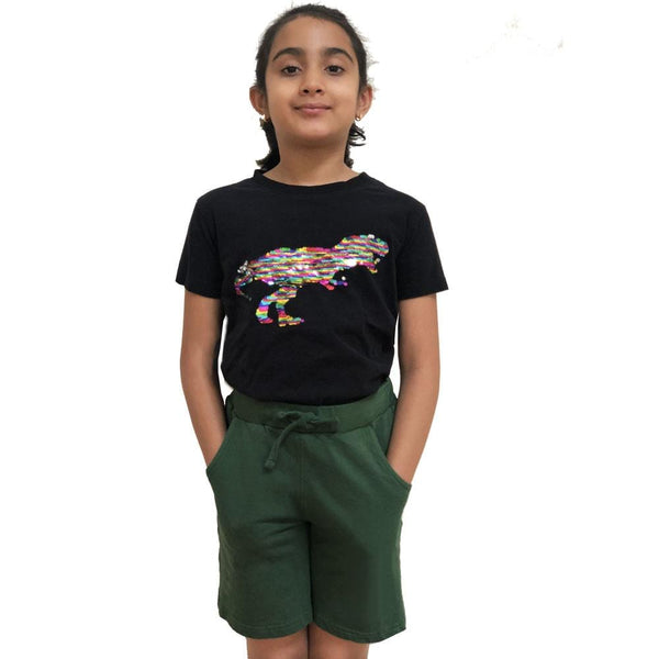 Kids Dark Green Back to School Knee Shorts with Pockets - SVAHA USA