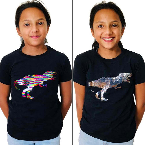 Kids T-Rex Shirt, Kids Dinosaur Shirt, Kids Sequins Shirt, Kids Jurassic Shirt, Kids Dinosauria Shirt, Kids Tyrannosaurus Rex Shirt, Kids Evolution Shirt, Kids Extinction Shirt, Kids T. Rex Dinosaur Reversible Sequins T-Shirt - SVAHA USA
